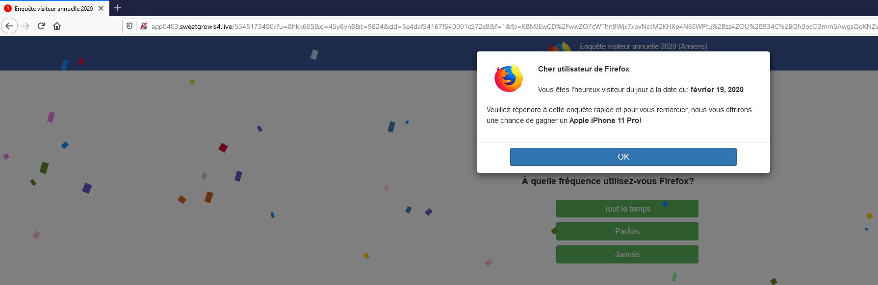 Redirection site web par malware