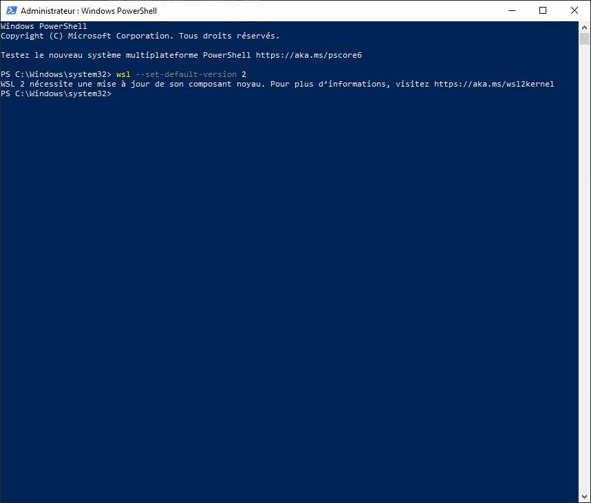 wsl default version 2