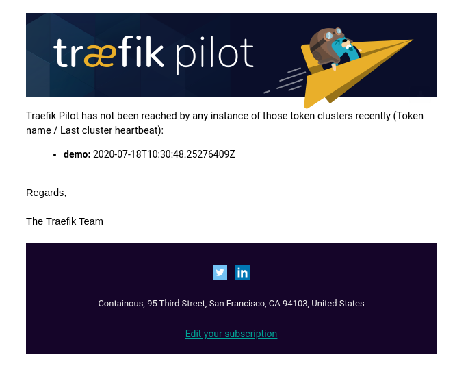 E-mail alert from Pilot